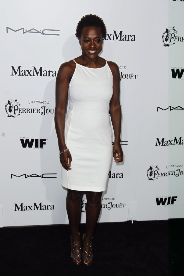 Actress Viola Davis arrives to attend the Women in Film pre-Oscar cocktail party in Beverly Hills, California