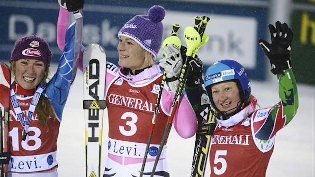 Third placed Mikaela Shiffrin (L) of the U.S., winner Maria Hoefl-Riesch (C) of Germany and second placed Tanja Poutiainen of Finland celebrate during the women&#39;s slalom at the FIS Alpine Ski World Cup Levi in Kittila (Reuters)
