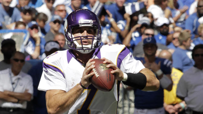 Minnesota Vikings' Christian Ponder looks to pass during the first half of an NFL football game against the Indianapolis Colts in Indianapolis, Sunday, Sept. 16, 2012. (AP Photo/AJ Mast)