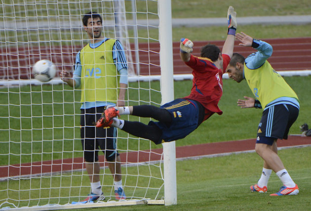 Spanish Goalkeeper Iker Casillas Jumps AFP/Getty Images