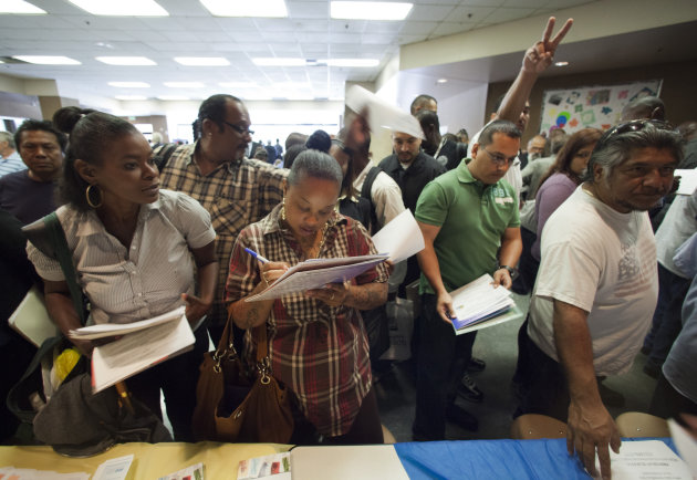 In this Thursday, May 31, 2012, job seekers gather for employment opportunities at the 11th annual Skid Row Career Fair at the Los Angeles Mission in Los Angeles.U S. employers advertised more jobs in May than April, a hopeful sign after three months of weak hiring. Job openings rose to a seasonally adjusted 3.6 million, the Labor Department said Tuesday, July 10, 2012. That&#39;s up from 3.4 million in April. It&#39;s also the second-highest level in nearly four years, just behind March&#39;s 3.7 million. (AP Photo/Damian Dovarganes, File)