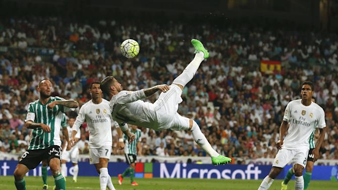 Real Madrid's Sergio Ramos tries to score a goal during their Spanish first division soccer match against Real Betis at the Santiago Bernabeu stadium in Madrid