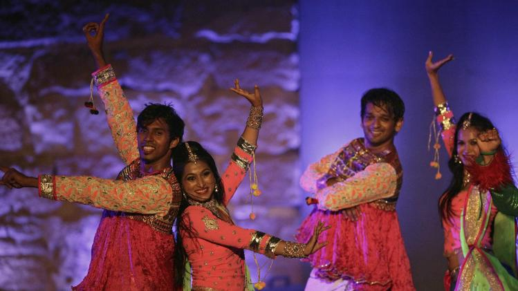 "The Indian dance troupe ""Bollywood Express"" performs during the 50th edition of the International Festival of Carthage in Tunis"
