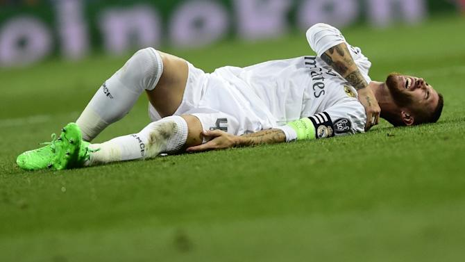 Sergio Ramos complains on the ground during a Champions League match on September 15, 2015