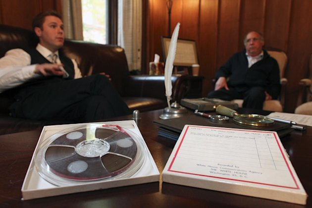Nathan Raab, left, and his father Steven Raab, talk about their recently discovered White House communications tapes involving Air Force One in flight from Dallas on November 22, 1963, during an interview at their office, in Philadelphia, on Wednesday Nov. 9, 2011. (AP Photo/ Joseph Kaczmarek)