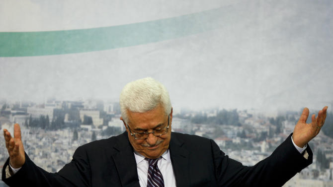 Palestinian President Mahmoud Abbas gestures and the end of his speech in the West Bank city of Ramallah, Friday, Sept. 16, 2011. Abbas said Friday he would ask the Security Council next week to accept the Palestinians as full members at the United Nations. (AP Photo/Majdi Mohammed)