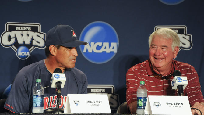 Arizona coach Andy Lopez, left, and Florida State coach Mike Martin, participate in the coaches news conference at TD Ameritrade Park in Omaha, Neb., Thursday, June 14, 2012. Arizona will play against Florida State on Friday in an NCAA College World Series baseball game. (AP Photo/Eric Francis)