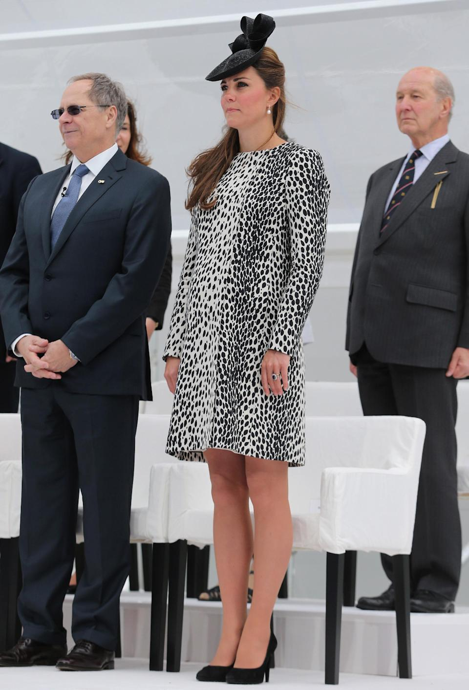 Britain's Duchess of Cambridge attends a Princess Cruises ship naming ceremony to officially name the new Royal Princess cruise liner at a gala ceremony, in Southampton, England, Thursday June 13, 2013. It is expected to be her final planned solo event before the birth. (AP Photo/Chris Jackson, Pool)