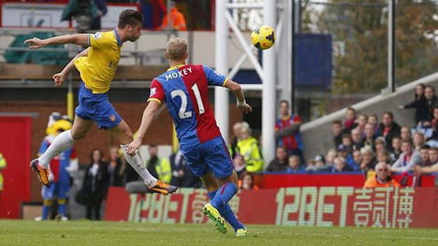 Olivier Giroud scores for Arsenal against Crystal Palace (Reuters)