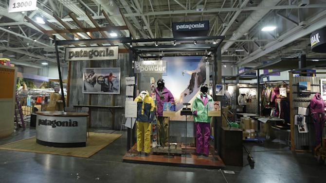 The Patagonia display is shown at the Outdoor Retailer show Tuesday, Jan. 22, 2013, in Salt Lake City. The Outdoor Retailer show, which kicks off this Wednesday at the Salt Palace Convention Center, draws more than 25,000 people and pours more than $40 million into Utah's economy every year. One of the world's largest outdoor gear trade shows will remain in Salt Lake City at least through 2016. The shows were previously contracted to stay through 2014. (AP Photo/Rick Bowmer)