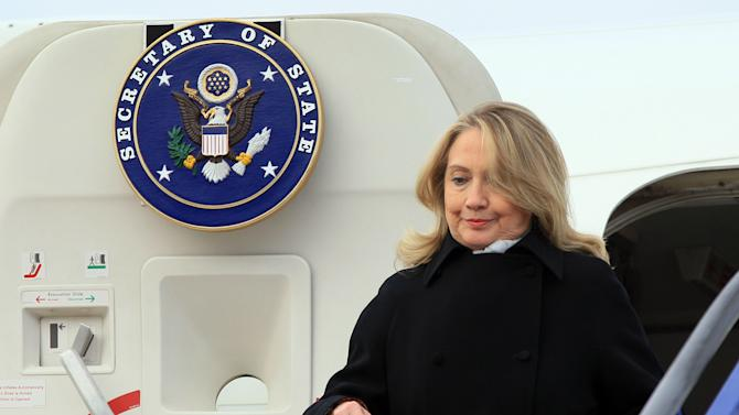 US Secretary of State Hillary Rodham Clinton arrives at Zagreb international airport, Croatia, Wednesday, Oct. 31, 2012. Clinton is currently touring northern Africa and southeast Europe. (AP Photo/Damir Sencar, Pool)