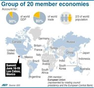 Graphic showing the member economies of the G20. Europe's major powers moved towards greater financial integration on Tuesday, in a G20 summit declaration aimed at boosting confidence in the bloc's plans to fix its spiraling debt crisis