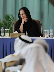 Vice President of World Bank Inger Andersen listens to a question during a press conference held after the end of first day of the international donor meeting for Yemen, in Riyadh. Yemen told the donors meeting it needs almost $12 billion in the short term