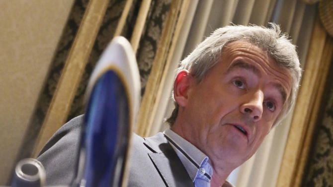 Michael O'Leary, CEO Ryanair, speaks during a press conference on Tuesday, March 19, 2013 in New York.  Ryanair says it is buying 175 Boeing 737-800 aircraft, the biggest-ever order of  Boeings by a European airline.   (AP Photo/Bebeto Matthews)