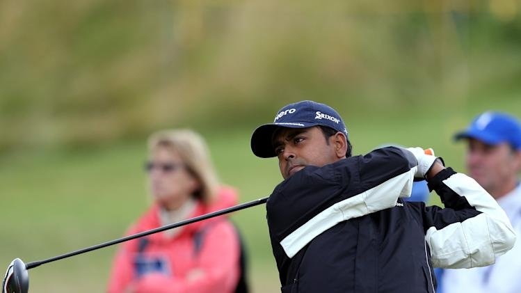 India's Anirban Lahiri tees off from the 17th during a practice round at Royal Liverpool Golf Club prior to the start of the British Open Golf Championship, in Hoylake, England, Monday, July 14, 2014. The 2014 British Open Championship starts on Thursday, July 17. (AP Photo/Scott Heppell)