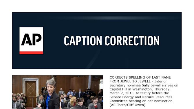 CORRECTS SPELLING OF LAST NAME FROM JEWEL TO JEWELL - Interior Secretary nominee Sally Jewell arrives on Capitol Hill in Washington, Thursday, March 7, 2013, to testify before the Senate Energy and Natural Resources Committee hearing on her nomination. (AP Photo/Cliff Owen)
