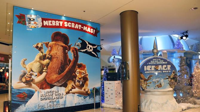 """Atmosphere at the celebration for the December 11th Blu-ray, DVD and Digital HD release of ICE AGE: CONTINENTAL DRIFT at the Beverly Center in Los Angeles, California on Thursday, December 6. Twentieth Century Fox Home Entertainment and Taubman Shopping Centers across the country have partnered to commemorate """"National Signing Santa Day"""" and the industry first Blu-ray special feature with picture-in-picture sign language interpretation.(Photo by Todd Williamson/Invision for Twentieth Century Fox Home Entertainment/AP Images)"""