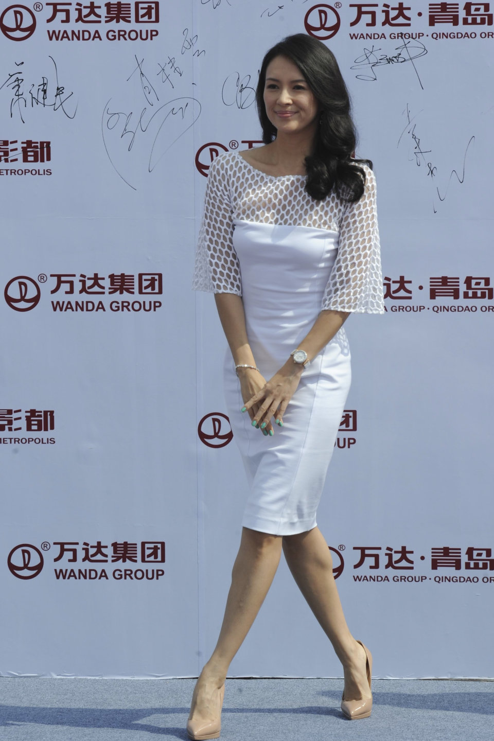 Actress Zhang Ziyi attends the launching ceremony of Qingdao Oriental Movie Metropolis in Qingdao in east China's Shandong province, Sunday, Sept. 22, 2013. (AP Photo)