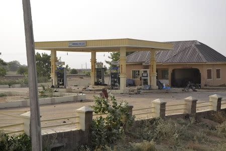 A destroyed petrol station is seen after Chadian forces took control from Boko Haram insurgents in Dikwa