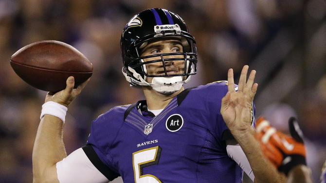 Baltimore Ravens quarterback Joe Flacco passes the ball during the first half of an NFL football game against the Cleveland Browns in Baltimore, Thursday, Sept. 27, 2012. (AP Photo/Patrick Semansky)