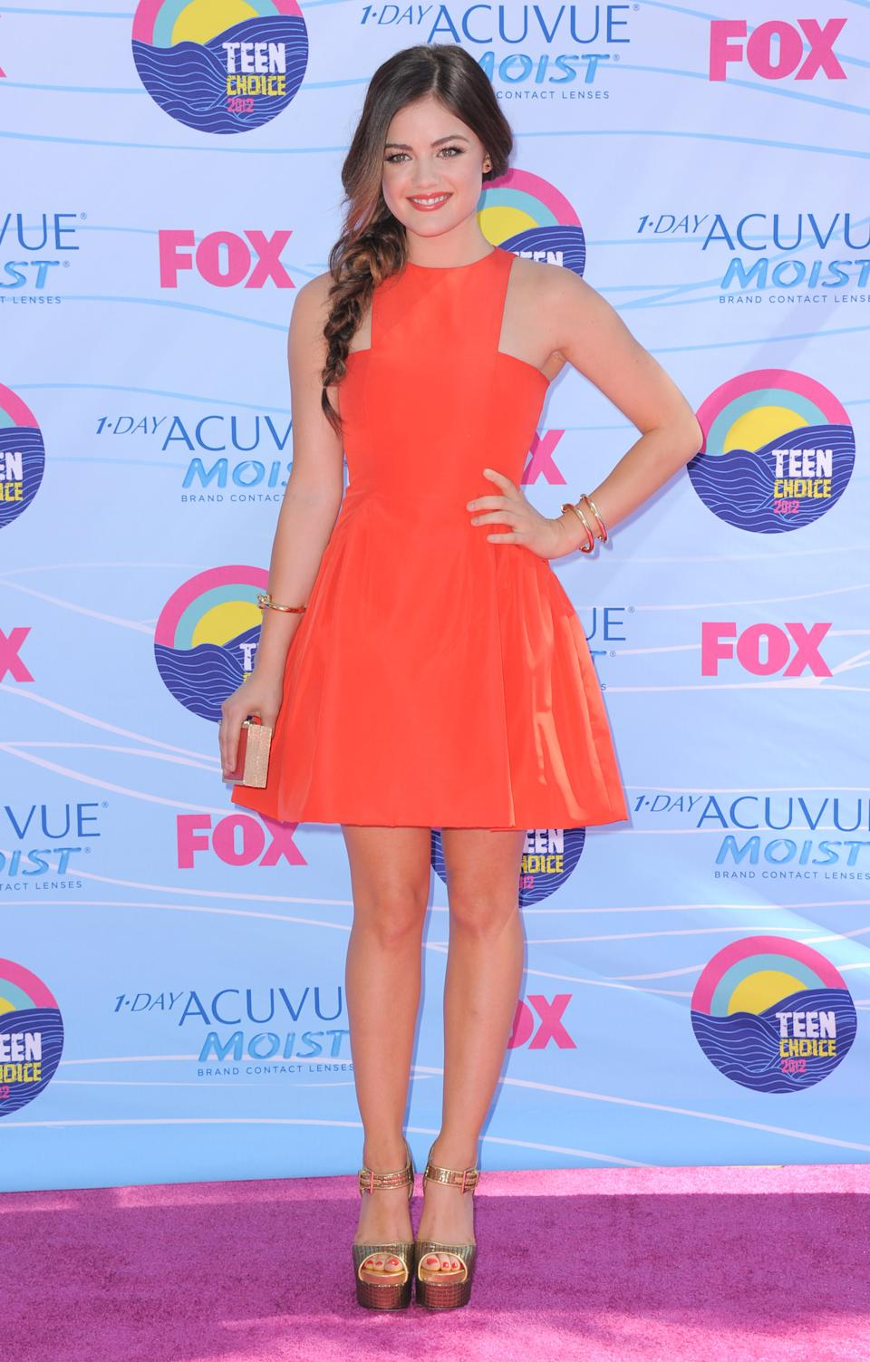 Lucy Hale arrives at the Teen Choice Awards on Sunday, July 22, 2012, in Universal City, Calif. (Photo by Jordan Strauss/Invision/AP)