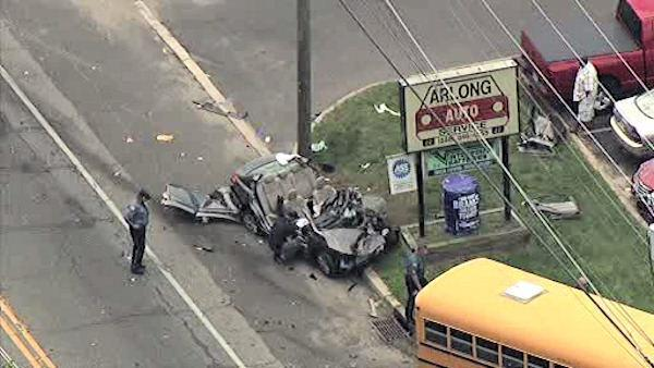 Scary moments in Lindenwold school bus crash caught on camera