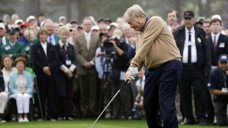 Honorary starter Jack Nicklaus hits a ball on the first tee before the first round of the Masters golf tournament Thursday, April 11, 2013, in Augusta, Ga. (AP Photo/David J. Phillip)