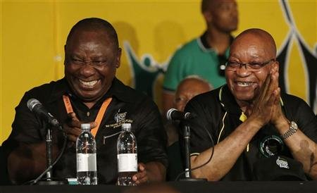 Cyril Ramaphoa and Jacob Zuma -- Reuters