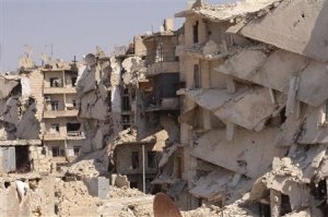 A general view shows damaged buildings in Aleppo's Karm al-Jabal district