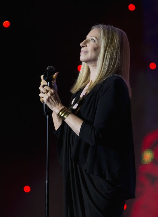 Barbra Streisand performs during celebrations marking Peres' 90th birthday in Jerusalem