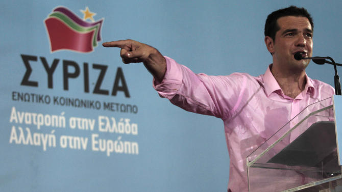 Head of Greece's radical left-wing Syriza party Alexis Tsipras speaks to his supporters during a rally at Aristotelous square in Thessaloniki, Friday, June 15, 2012. Greece faces crucial national elections on Sunday, that could ultimately determine whether the debt-saddled, recession bound country remains in the eurozone. (AP Photo/Dimitri Messinis)