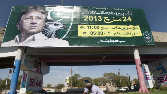 "A Pakistani gardener works under a banner of Pakistan's President Pervez Musharraf, reading ""come and join me,"" in Karachi, Pakistan on Friday, March 22, 2013. Former Pakistani leader Musharraf vowed to return Pakistan on Sunday to take part in the coming elections in May. (AP Photo/Shakil Adil)"