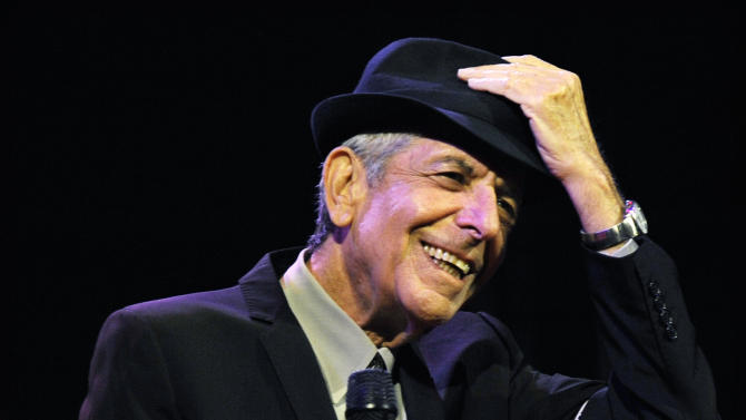 """FILE - In this April 17, 2009 file photo, Leonard Cohen performs during the first day of the Coachella Valley Music & Arts Festival in Indio, Calif. It's hard to think of any song that has taken a stranger journey through popular culture than Leonard Cohen's """"Hallelujah."""" Author Alan Light's book, """"The Holy or the Broken,"""" releasing on Dec. 4, 2012, is about the trajectory of the song, """"Hallelujah,"""" and about Cohen and its most celebrated singer, the late Jeff Buckley. (AP Photo/Chris Pizzello, File)"""