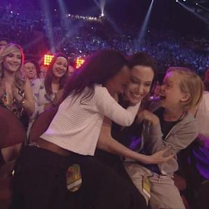 Angelina Jolie Shows Up at Kids' Choice Awards with Daughters, Wins Best Villain