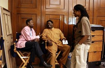 director/co-screenwriter/star Chris Rock , Bernie Mac and co-screenwriter Ali Leroi on the set of DreamWorks' Head of State
