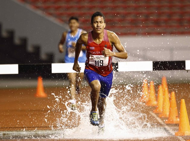 Costa Rica's Rivas runs in the men's 3000m steeplechase final at the Central American Games in San Jose