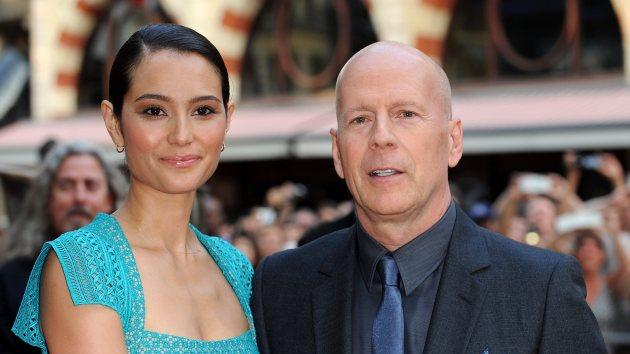 Bruce Willis and Emma Heming attend the 'Red 2' Premiere at Empire Leicester Square on July 22, 2013 in London -- Getty Images