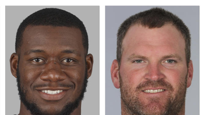 FILE - From left are 2014, file photos showing Tampa Bay Buccaneers' Tim Wright, and New England Patriots' Logan Mankins. The Buccaneers addressed a need to upgrade their struggling offensive line by obtaining six-time Pro Bowl guard Logan Mankins from the Patriots for tight end Tim Wright and a draft pick. The deal Tuesday, Aug. 26, 2014, comes less than 24 hours after the Bucs met with Richie Incognito to try to determine if one of the central figures in the Miami Dolphins bullying scandal might be an answer to their problems at guard. (AP Photo/File)