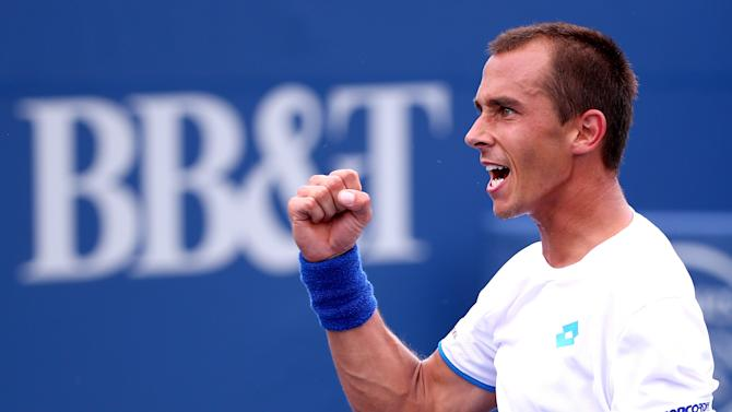 Lukas Rosol of the Czech Republic during the men's semifinal match of the Winston-Salem Open on August 22, 2014 in Winston Salem, North Carolina