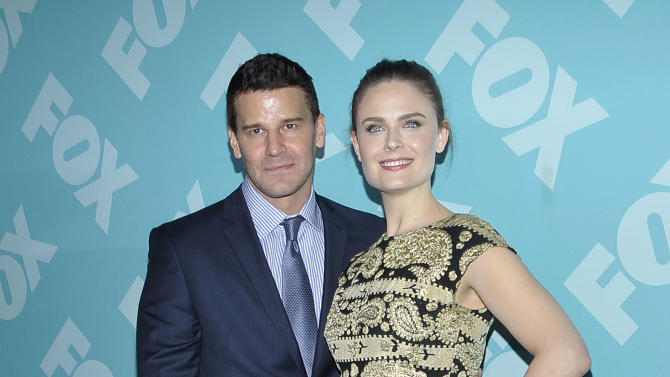 Actor David Boreanaz and actress Emily Deschanel arrives at the 2013 FOX Programming Presentation Post Party at Wollman Rink in Central Park on Monday, May 13, 2013 in New York, New York. (Photo by Andrew Marks/Invision for FOX/AP Images)