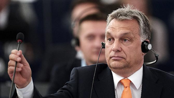 Hungary's Prime Minister Viktor Orban attends a debate at the European Parliament in Strasbourg on May 19, 2015