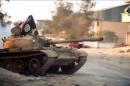 Image from a video made available on October 9, 2014, by the official Islamist media outlet of Benghazi-based Islamist Ansar al-Sharia group, al-Raya Media Foundation, allegedly shows a tank, belonging to the group, in the Libyan city of Benghazi