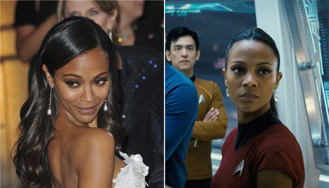 Zoe Saldana at the 2013 Academy Awards (left) and as Star Trek&#39;s Uhura (right).