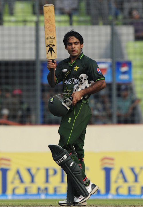 Pakistan's Mohammad Hafeez reacts after