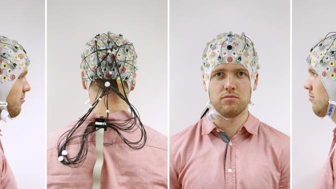 A combination of four pictures shows test person Thiel posing with an electroencephalography cap at the Technische Universitaet Muenchen in Garching