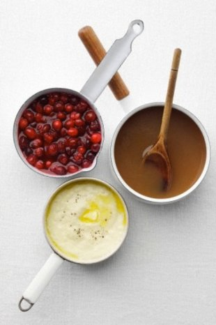 Cranberry Sauce, Mashed Potatoes, and Gravy