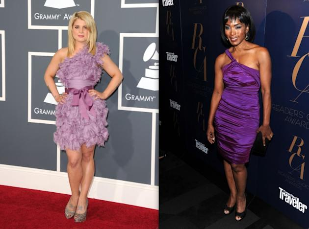 Kelly Osbourne (27) and Angela Bassett (53) similarly chose purple-hued asymmetrical dresses recently. Kelly's, unfortunately, had way too much going on, and made her fair skin look washed-out. Angela