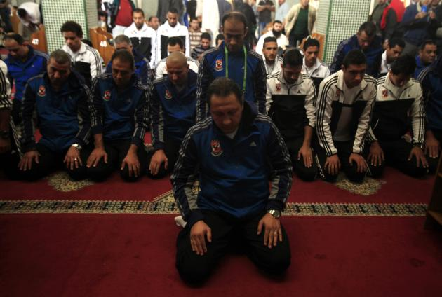 Egypt's Al Ahly players attend Friday prayers at Lebanon Mosque in Agadir