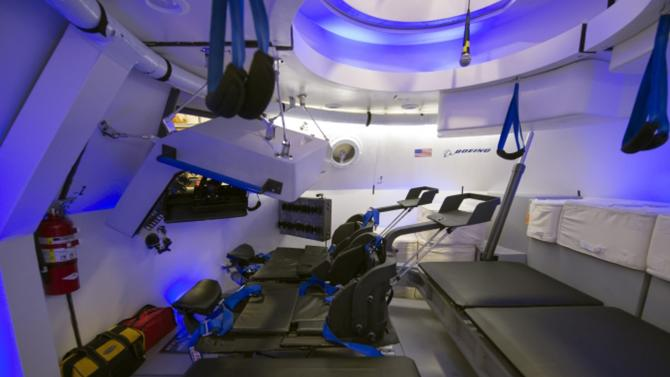 An interior view of Boeing's CST-100 spacecraft is seen in an undated NASA handout image