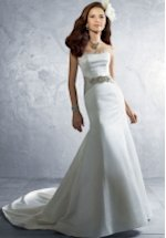 A Line Strapless Spaghetti Straps Satin Semi Cathedral Wedding Dress Style
